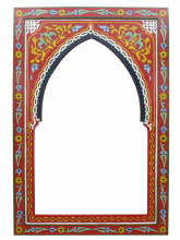 Moroccan Mirror Arched Zouak Wood Red Handmade Large 90cm x 60cm (ZML12)
